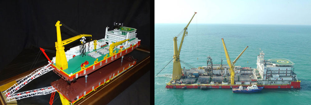 C Master, Pipelay Crane Vessel model scale 1:150 and it's real embodiment